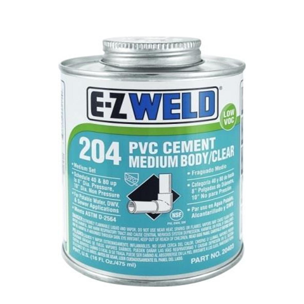 E-Z Weld 204 PVC Cement Medium Body / Clear