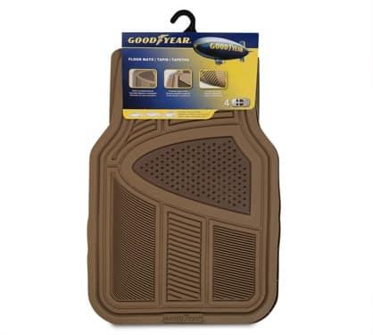 Goodyear® Rubber Car Floor Mats – Beige, 4 pc
